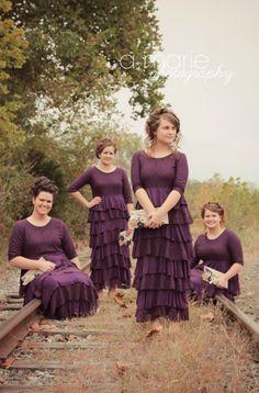 Modest bridesmaid dresses for weddings / purple plum modest autumn wedding ruffles lace / Dreaming in Vintage dress in plum www.daintyjewells.com #daintyjewells