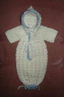 Free Crochet Pattern:  Gods Tiny Angels Patterns: Louisas' Preemie Bunting