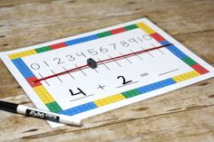 This LEGO Number Line is perfect for hands on practice with addition and subtraction. Free printable LEGO Number Line mat! Line Math, Math Fractions, Maths, Science Experiments For Preschoolers, Framed Words, Math Graphic Organizers, Math Activities, Math Games, 7th Grade Math