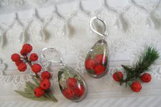 Winterberry, Pine Sprig, Moss, Queen Anne's Lace Pressed Flower Teardrop Resin Earrings-Symbolizes Winter Solstice, Peace, Harmony, Balance