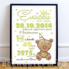 Постер метрика зеленая с медведем для мальчика