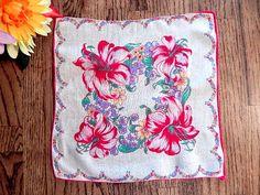 Handkerchief Women's VTG 1960s Hankie Ladies Tropical Floral Red Flowers Wedding…