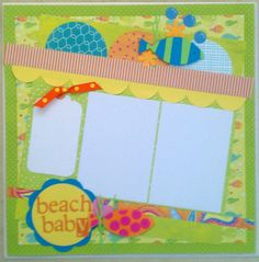 Beach Baby 12x12 premade scrapbook layout page by ohioscrapper, $15.00