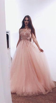 unique pink long prom dresses b9223c837