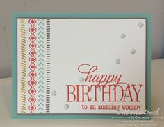 Quick and simple birthday card featuring the Bohemian Borders and Happy Birthday Everyone stamp sets - Kristin Kortonick #stampinup