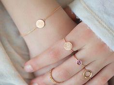 Pulsera de cadena de oro con el círculo rosado delicado o elemento de corazón, rasguño final delicada pulsera, brazalete de oro rosa,…