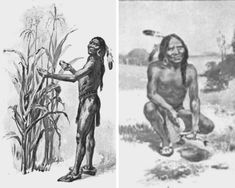Squanto teaching the pilgrims to plant corn, illustration published in The Teaching of Agriculture in High School, circa 1911