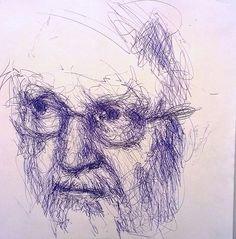 pen portrait KK   Flickr - Fotosharing! Scribble Art, Gesture Drawing, Daily Drawing, Gravure, Types Of Art, Ballpoint Pen, Face Art, Pencil Drawings, Art Sketches