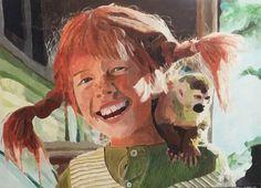 PIPPI/Acryl auf Leinwand/60 x 40cm Spirited Art, Portraits, Painting, Canvas, Head Shots, Painting Art, Paintings, Portrait Photography, Painted Canvas