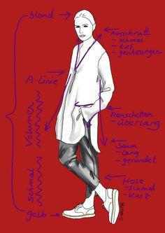 Proportionen, Linienführung, Akzente und Farbverteilung machen das Outfit für viele Figurtypen attraktiv.