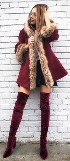 #winter #fashion /  Burgundy Coat // Burgundy Over The Knee Boots // Black Skirt
