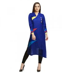 EthnicBasket Womens Blue Color Stitched Cotton Kurti