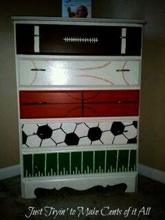 like sample paint? love this idea for a little boys room! sports dresser… @ DIY House Remodellove this idea for a little boys room! Baby Boy Rooms, Baby Room, Toddler Rooms, Football Rooms, Boys Football Bedroom, Football Baby, Do It Yourself Furniture, Home Remodeling Diy, Home And Deco