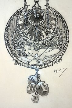 """1900 Alphonse Mucha """"Dessin de Montre"""" Jewelry Design Illustration for Georges Fouquet 