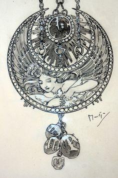"1900 Alphonse Mucha ""Dessin de Montre"" Jewelry Design Illustration for Georges…"