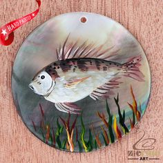HAND PAINTED FISH MOTHER OF PEARL SHELL NECKLACE PENDANT ZL30 06674 #ZL #PENDANT