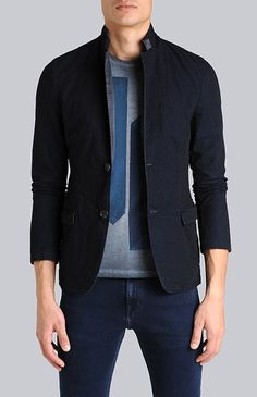 HERRINGBONE Blazer with Leather detailing from 7 for All Mankind