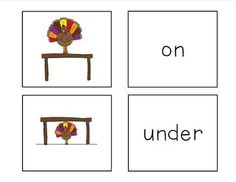 Memory Match Game for Prepositions and Concepts  Targets: in, on, under, below, above, in, beside, behind, between, first, second, third, middle  Happy early Thanksgiving! Visit me at http://mrsludwigspeechroom.blogspot.com/