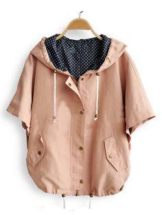 Pink Hooded Polka Dot Drawstring Batwing Cape Coat