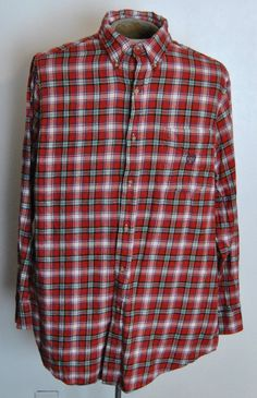 Ralph Lauren Chaps Flannel Shirt LT Mens Red Plaid 100% Cotton Long Sleeve #RalphLaurenChaps #Western free shipping auction starting at $12.99