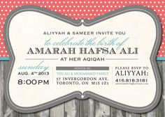Aqiqah/Baby Invitation by DOEdesigners on Etsy, $20.90 Baby Invitations, Invitation Ideas, Invite, Cute Backgrounds, Rsvp, Diy And Crafts, Birthday Parties, Projects To Try, Baby Shower