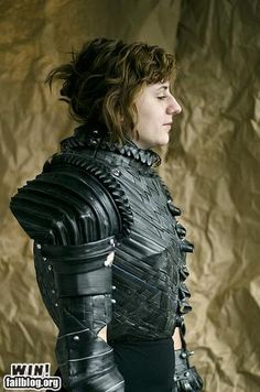 Joan of Arc armor out of cardboard, bicycle tubes and metal fasteners...that's talent