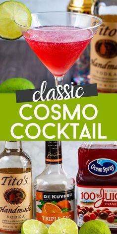 Cosmopolitan Cocktail Recipes, Cosmo Cocktail, Cocktail Drinks, Cosmo Martini, Lemonade Cocktail, Best Cocktail Recipes, Martini Recipes, Cocktails