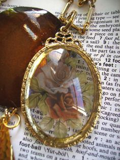 Roses From Heaven Collage Necklace by lynnetteapriljewels on Etsy, $44.00
