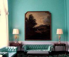 living room aqua wall