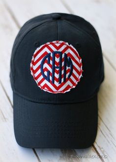 de7bd51156eef Items similar to Ladies  Fabric Patch Baseball Cap- Preppy Ballcap-Raggy  Patch-Monogrammed ballcap-Game day hat-Preppy ballcap-Chevron Fabric Patch-  on Etsy