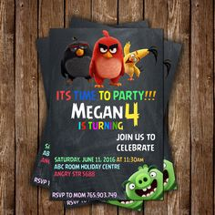 Angry Birds Party Invitation Make to Order, Angry Birds invitation, Birthday…