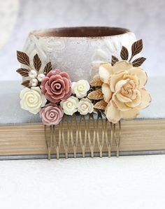Bridal Hair Comb Dusty Rose Pink Vintage Style by apocketofposies