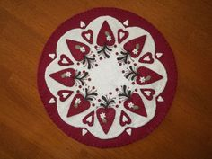 Something a bit different for you this time. This mat has 8 cranberry hearts, each with a tiny cream flower and leaf. On the top, is a coffee colored vine, with some cranberries added in for a bit of contrast. | eBay!