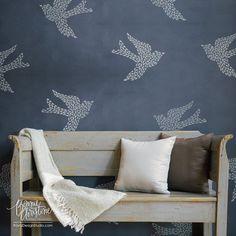 Large Bird Wall Motif Stencil | Royal Design Studio