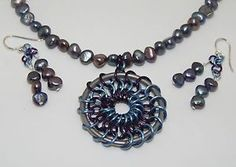 """Natural Peacock Freshwater Pearls Hand Made """"Dream Catcher"""" Chain Maille SET 