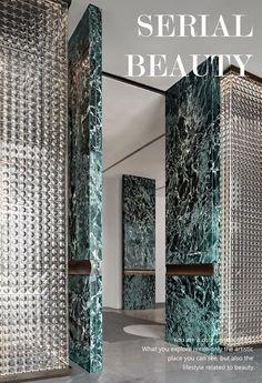 CCD新作 / 来自塞纳河畔的文艺气息,这间美学生活体验中心唯美了整个盛京 Office Interior Design, Office Interiors, Luxury Interior, Interior Architecture, Ceiling Design, Wall Design, Double Door Design, Lobby Design, Green Marble