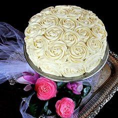beautiful roses on red velvet cake