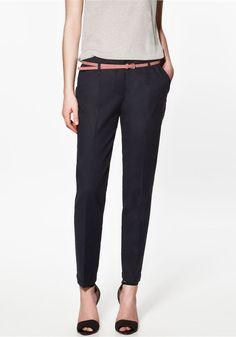++ Navy Plain Low Waist Belt Cotton Pants