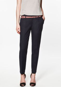 Navy Plain Low Waist Belt Cotton Pants