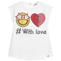 Girls ivory t-shirt bySo Twee, made in a stretchy cotton jersey. The front of this lovely sleeveless design, has a pink and yellow love themed print embellished withdiamantés. The back hemline is shaped and slightly longer than the front, with a popper fastening on the back to assist with dressing.