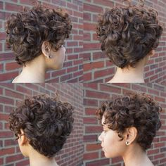 60 Most Delightful Short Wavy Hairstyles Brown Curly Pixie Hairstyle Curly Pixie Hairstyles, Haircuts For Curly Hair, Curly Hair Cuts, Curly Hair Styles, Natural Hair Styles, Latest Hairstyles, Hairstyles 2016, Wedding Hairstyles, Bob Haircuts
