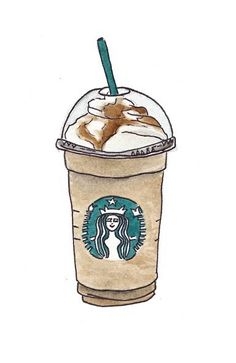 Starbucks Coffee / Watercolor Sketches on imgfave Tumblr Drawings, Cute Drawings, Arte Starbucks, Starbucks Coffee, Starbucks Cup Drawing, Starbucks Drinks, Starbucks Caramel, Food Illustrations, Illustration Art