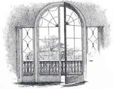 drawings of windows and doors | French window, also unusual in America in the 18th century, opened ...
