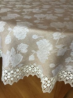 Tablecloth Round Linen Tablecloth Linen Lace by Rokasdarbi on Etsy