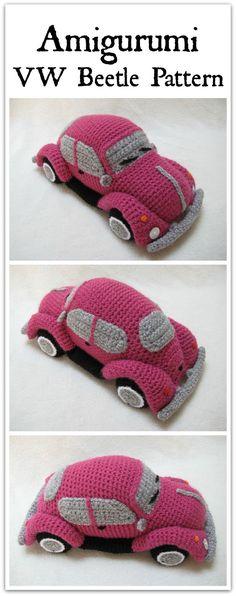 Amigurumi VW Beetle Volkswagen Inspired Bug Car Crochet Pattern PDF