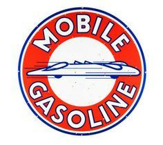Rare Original Mobile Gasoline Porcelain Sign