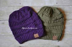 Knit Beanies in Plum and Olive