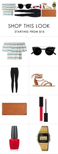 """""""Date w/ MS"""" by kisseszter99 on Polyvore featuring Mara Hoffman, New Look, Valia Gabriel, Chloé, Gucci, OPI, Casio, vintage, Summer and red"""