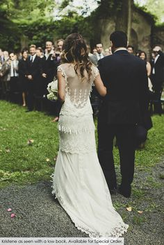 Real bride Tara in the Claire Pettibone 'Kristene' wedding dress with a custom back | Photo: Dan O'Day | See more views/details of this gown --> http://www.clairepettibone.com/bridal/?cp=gowns/kristene