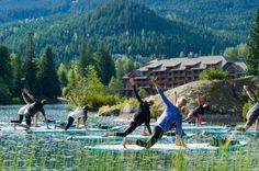 Nita Lake, B.C., Canada. We love spending time outside amongst beautiful scenery, and paddleboard yoga gives us even more opportunity to commune with nature.